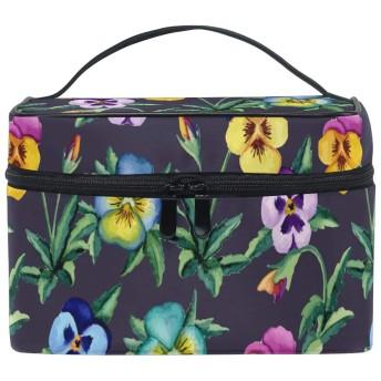 水彩花化粧品袋オーガナイザージッパー化粧バッグポーチトイレタリーケースガールレディース