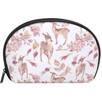 ALAZA 鹿花 半月 化粧品 メイク トイレタリーバッグ ポーチ 旅行ハンディ財布オーガナイザーバッグ