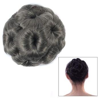 コスプレウィッグ 花嫁のためのかつらボールヘッド花のヘアピンのヘアバッグかつらヘッドバンド (色 : Grey)