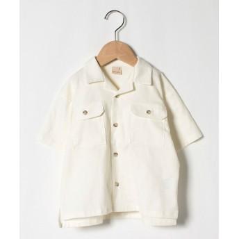 (petit main/プティマイン)ビッグシルエット開衿シャツ/ オフホワイト