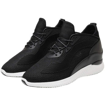 [D.IIZOO] 春夏メッシュ10cm 8cm 6cm身長アップ シークレットシューズ スニーカー メンズ カジュアルシューズ 背が高くなる靴 運動靴 サンダル 厚底 軽量 通気 (25.5CM, ブラック-10CM)