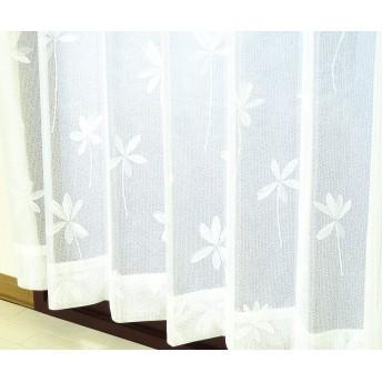 かーてん屋さんアウトレット オーダーカーテン ミラーレースカーテン [スィート] 防炎 断熱 UVカット 花柄 ナチュラルホワイト色 幅120cm 丈173cm