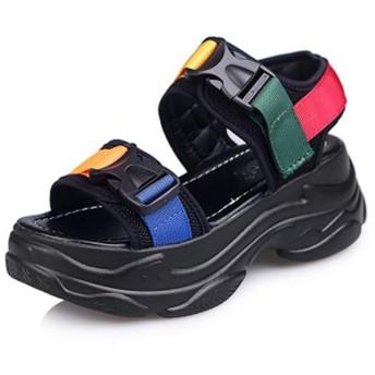 [DEBLE] 厚底サンダル スポーツサンダル マジックテープ アンクルストラップ レディースシューズ 軽量 歩きやすい コンフォート シューズ (240, ブラック)