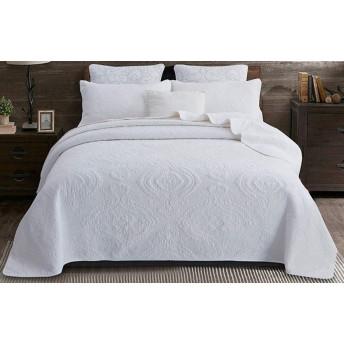 綿のベッドカバーダブルキルトキルトリバーシブルのエレガントなファッション花カントリースタイルベッドカバーファッション四季使用高級高品質ベッドカバー,White-230X250cm