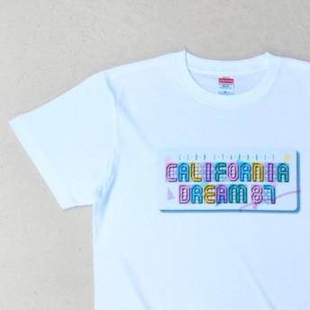 大人用メンズ おしゃれでかわいい80年代風の白Tシャツ - California Dream(レディースは受注制作)