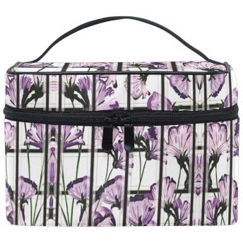 ピンクパープルフラワー化粧品袋オーガナイザージッパー化粧バッグポーチトイレタリーケースガールレディース