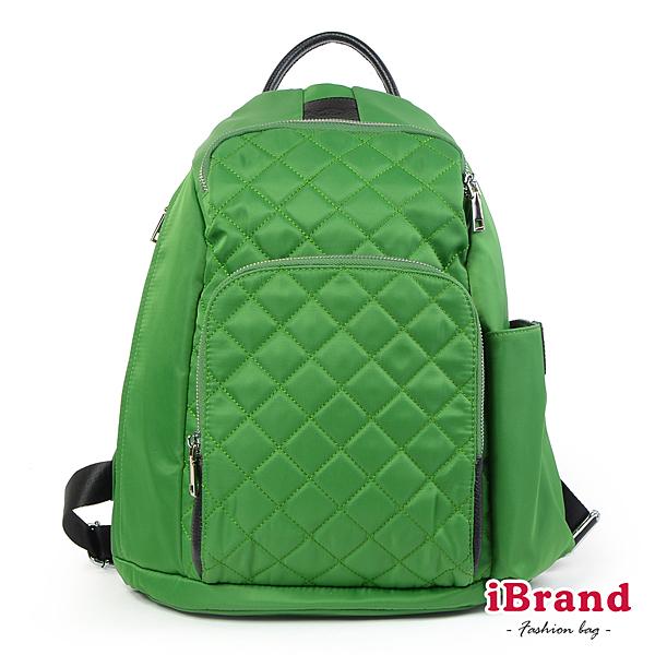 iBrand 率性菱格紋後開式防盜尼龍後背包 M 蘋果綠 HS-2003-45G