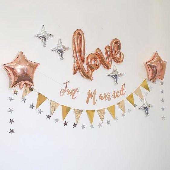 派對氣球婚房佈置LOVE氣球創意拉花臥室客廳浪漫求婚表白氣球裝飾結婚