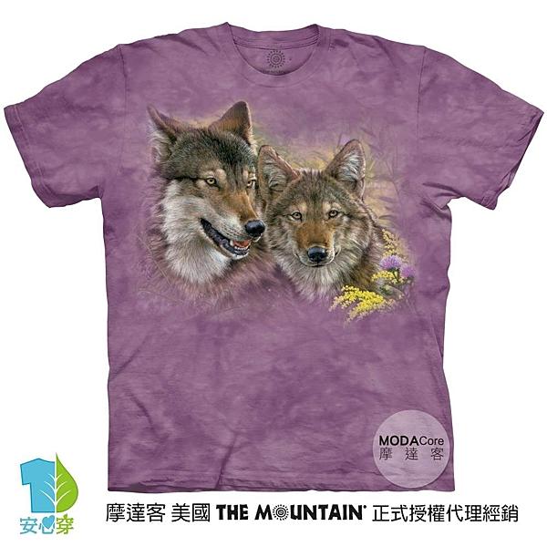 摩達客-預購-美國進口The Mountain 依戀狼情侶 純棉環保藝術中性短袖T恤
