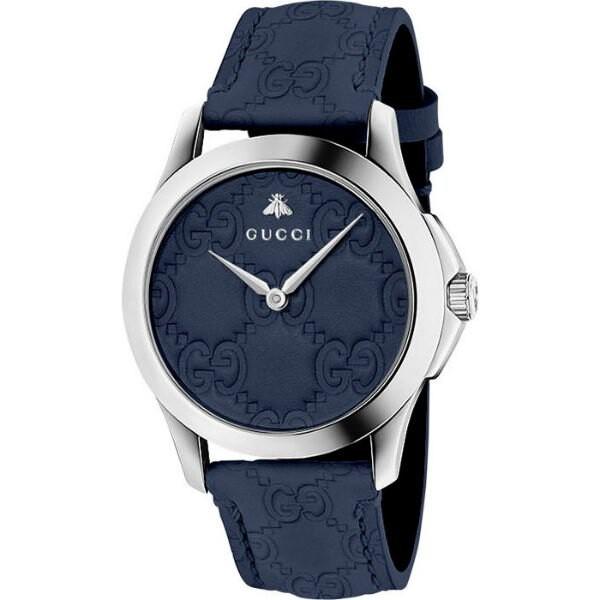 Gucci 古吉 YA1264032 G-TIMELESS 雙G皮紋手錶 /藍 39mm
