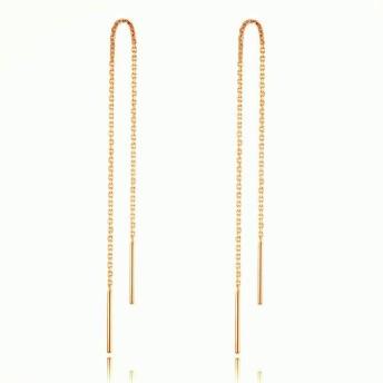 Earrings 女性のファッションアクセサリースターリングシルバーイヤライン幾何学的線形状ロングイヤリング ( 色 : ゴールド )