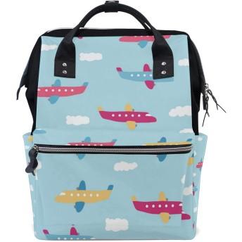LALATOP ママ用 漫画の飛行機 大容量 ベビー用 おむつバッグ 多機能 旅行用バックパックおむつ バックパック Lサイズ マルチカラー