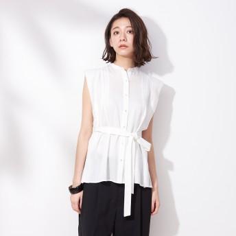 qualite(カリテ)/タックノースリーブスタンドシャツ