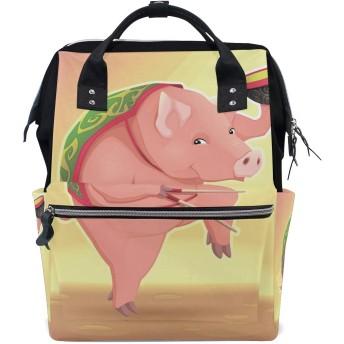 ピンクのカンフー豚おむつ バッグ バックパック ママバッグ カジュアル 軽量 大容量 トラベル マミー用