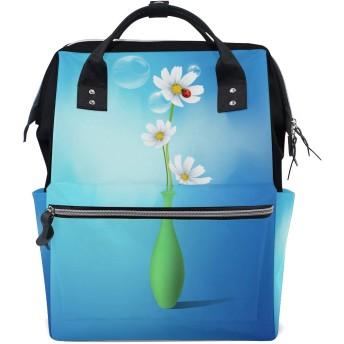 おむつバッグアートデイジーの花おむつ バッグ バックパック ママバッグ カジュアル 軽量 大容量 トラベル マミー用