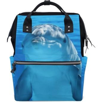 LALATOP ドルフィンプリント おむつ バックパック 旅行用 ママおむつバッグ 大容量 多機能 スタイリッシュ 耐久性 看護バッグ Lサイズ マルチカラー