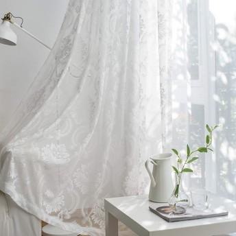 Pureaqu おしゃれ 刺繍 ホワイトレースカーテン 花柄 UVカット 遮熱 洗える 省エネ 女の子の寝室 風通し 紗 ガーゼ 薄手 仕切り居室 小窓 窓飾り リビングルーム 寝室 取り付けも簡単 1組2枚入り 幅150cm×丈200cm