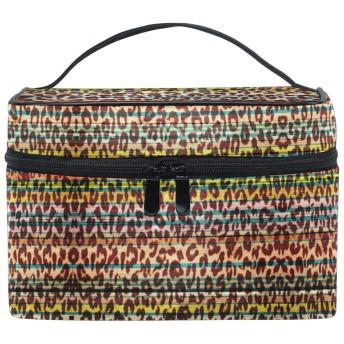 ヒョウウッドプリント化粧品袋オーガナイザージッパー化粧バッグポーチトイレタリーケースガールレディース