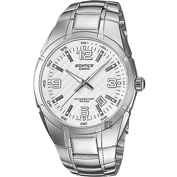 CASIO 卡西歐EDIFICE 三針系列手錶-白x銀 EF-125D-7AVUDF 比漾廣場