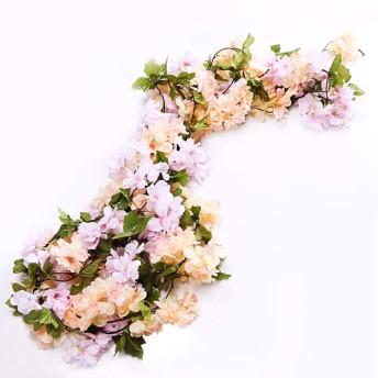 Li Hua Cat 造花 インテリア 人工バラ 観葉植物 藤の花 63インチ 3つの花輪 緑の葉 リング バラの造花 壁掛け セット お祝いに 結婚式 リビング 玄関やトイレ 部屋 祝日 飾り (シャンパン(桜))