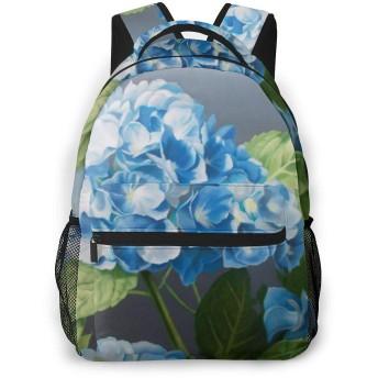 リュック リュックサック あじさい ブルー 絵 メンズ レディース 登山 大容量 絵柄付き バックパック 鞄 バッグ 軽量 おしゃれ カジュアル 多収納