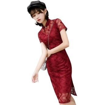 (上海物語) Shanghai Story 2020 膝丈 スリット入 裏あり チャイナドレス 半袖 中国風 レディース チーパオ 女性用 中華ドレス 旗袍 チャイナ ワンピース 民族衣装 パーティー ドレス サイズ L レッド