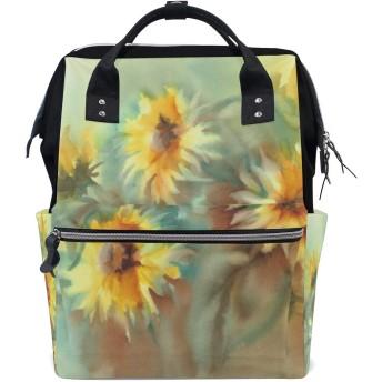 ママバッグ マザーズバッグ リュックサック ハンドバッグ 油絵 ひまわり 花柄 用品収納 旅行用 大容量 多機能 出産祝い
