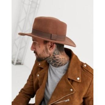 エイソス メンズ 帽子 アクセサリー ASOS DESIGN wide brim pork pie hat in camel with band Tan