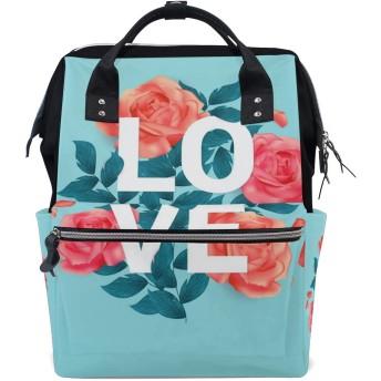 LALATOP 美しいバラとの愛 プリント おむつ バックパック 旅行用 ママおむつバッグ 大容量 多機能 スタイリッシュ 耐久性 看護バッグ Lサイズ マルチカラー