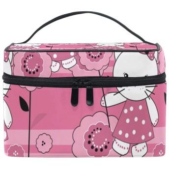 ユキオ(UKIO) メイクポーチ 大容量 シンプル かわいい 持ち運び 旅行 化粧ポーチ コスメバッグ 化粧品 猫が花を持つ レディース 収納ケース ポーチ 収納ボックス 化粧箱 メイクバッグ