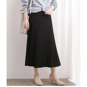 【ViS:スカート】【セットアップ対応】プリーツ編みニットスカート