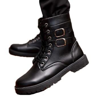 [QH-JP] ブーツ シューズ メンズ マーティン マウンテン スニーカー ワーク 大きいサイズ 本革ウィンター防水 防寒靴 防滑 アウトドア ウィンター 裏起毛 滑り止め 男性用 おしゃれ かっこいい 通勤通学 雨・雪・晴れ兼用 27cm ブラック