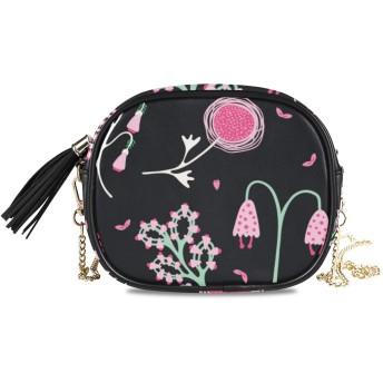 NIESIKKLA レディース チェーンバッグ、おしゃれ ミニ グ ショルダーバッグ シンプル 合わせやすい 多機能 結婚式 パーティーバッグ、1950年代スタイルの花満開のシームレスパターン