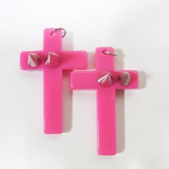 2個セット アクリル製品・クロス(スタッズ付) -969 ピンク