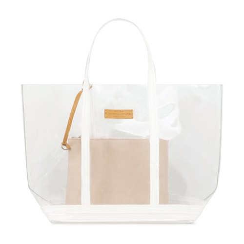 Medium Transparent Canvas and Sequins Cabas Tote Bag