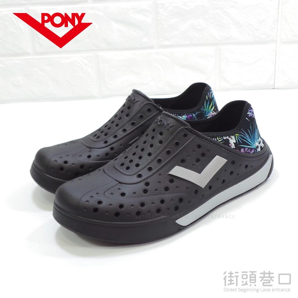 【街頭巷口 Street】PONY 熱銷 水陸兩用 透氣 時尚花布 洞洞鞋 懶人鞋 水鞋 PO72U1SA65BK 黑色