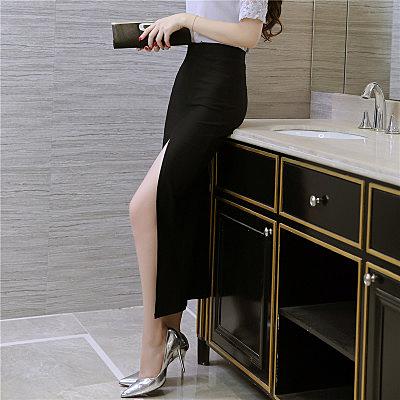 時尚性感前開叉長裙 彈力包臀裙 職業裙半身裙5635GT5F-523紅粉佳人