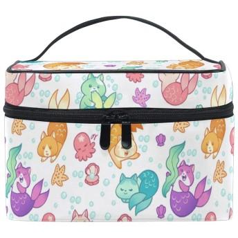メイクポーチ 可愛い 猫 人魚 柄 化粧ポーチ 化粧箱 バニティポーチ コスメポーチ 化粧品 収納 雑貨 小物入れ 女性 超軽量 機能的 大容量