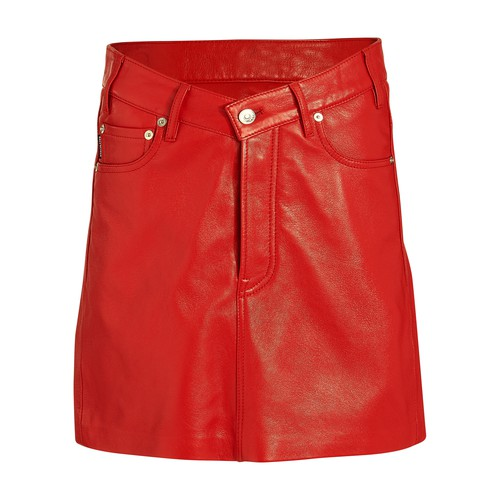 V-neck leather skirt
