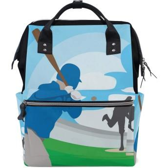 LALATOP ママ用 野球選手大容量 ベビー用 おむつバッグ 多機能 旅行用バックパックおむつ バックパック Lサイズ マルチカラー