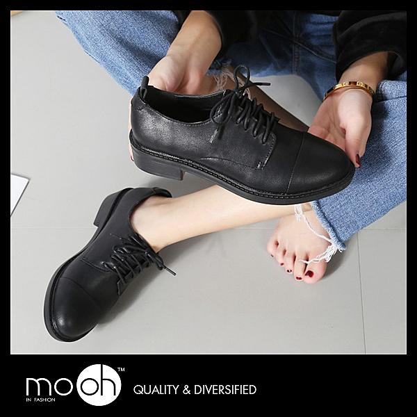 粗跟小皮鞋 綁帶 復古布洛克低跟牛津鞋 mo.oh (歐美鞋款)