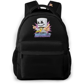 マシュメロ Marshmello 学校/スポーツバックパック、カジュアルなユニセックススタイルの大学の学校のバッグ/ラップトップバッグ男性用女性。