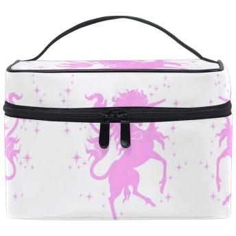 ピンクの馬ユニコーン化粧品袋オーガナイザージッパー化粧バッグポーチトイレタリーケースガールレディース