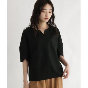 OZOC/オゾック [洗える]コットン混袖タックトップス ブラック(019) 38(M)