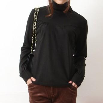 (Sweeml)スウィミル タートルネック アンゴラ、羊毛混 胸元切換え プリーツ くしゅくしゅ ニット カットソー 長袖 薄手ニット