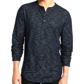 [Abercrombie & Fitch(アバクロンビーアンドフィッチ)] アバクロ メンズ ヘンリー 長袖 Tシャツ ロンT 無地 ネイビー Lサイズ [並行輸入品]