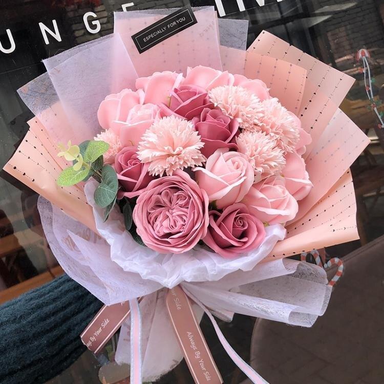 母親節康乃馨玫瑰花束520生日禮物送女友仿真假花肥香皂花禮盒