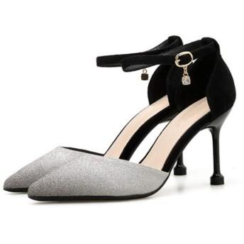 [meiler] ストラップ パンプス レディース 靴 ポインテッド 8.5センチヒール 痛くない 疲れない サンダルパンプス オープン 結婚式 ブラック 入学式 パーティー フォーマル 22.0cm 卒業式 サイドオープパンプス アンクルストラップパンプス