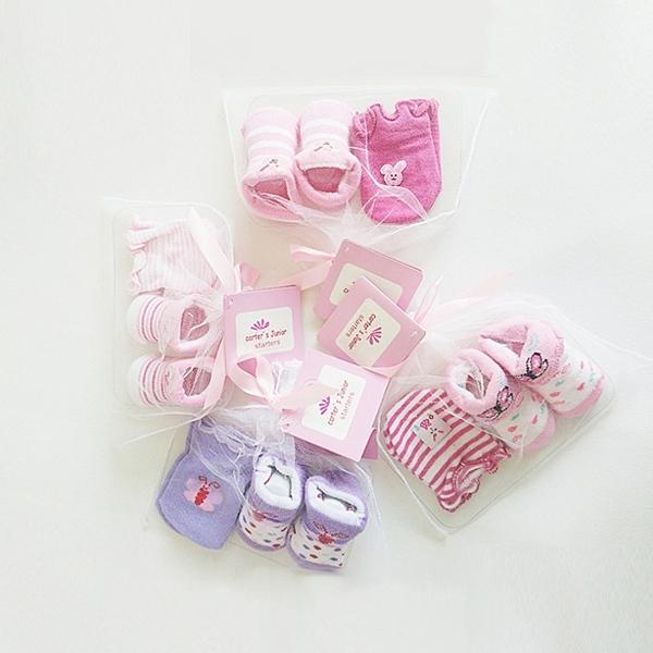 新生兒 手套+嬰兒襪 紗袋組 彌月禮 寶寶襪 嬰兒襪 隨機花色 襪子 彌月 滿月 嬰兒 橘魔法 現貨