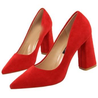 [ZJHZ] 入園式 パンプス スエード 太ヒール ハイヒール 8.5cm 黒 痛くない 履きやすい スウェード シンプル 24.5cm レディース靴 チャンキーヒール 結婚式 美脚 ポインテッドトゥ レッド 靴